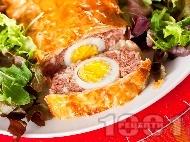 Рецепта Телешко руло от кайма в готови кори, пълнено с варени яйца